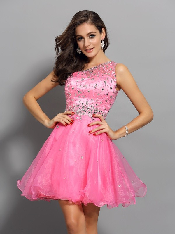 Gorgeous A-Line One-Shoulder Cut Organza Short Dresses With Ruffles