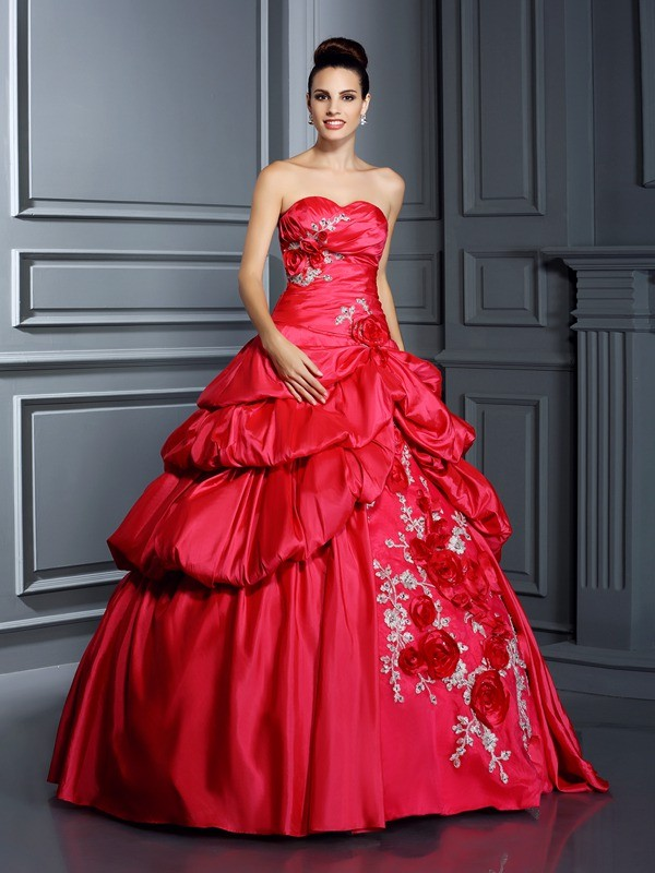 Stylish Ball Gown Sweetheart Cut Taffeta Long Dresses With Hand-Made Flower