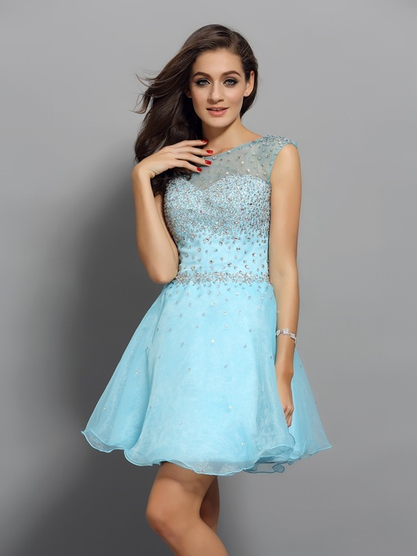 Special A-Line Scoop Cut Organza Short Dresses With Beading