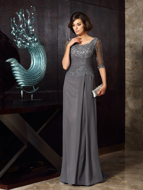 Graceful A-Line Scoop Cut Chiffon Long Mother of the Bride Dresses With Beading