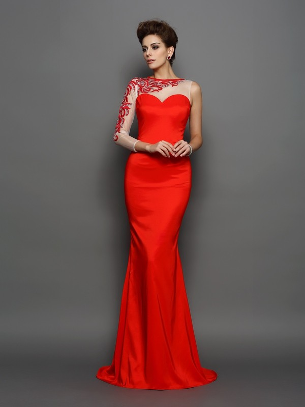 Fashional Mermaid High Neck Cut Elastic Woven Satin Long Dresses With Embroidery