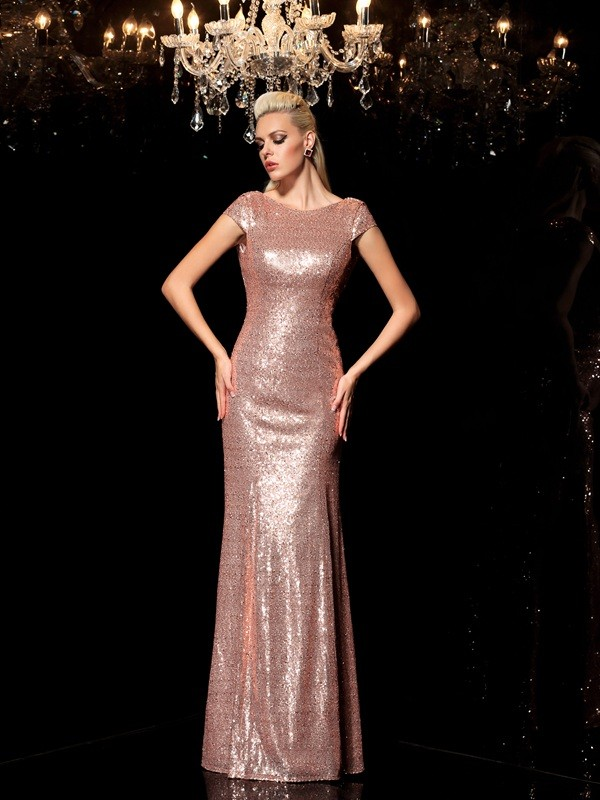 Attractive Sheath Scoop Cut Sequins Long Dresses With Sequin
