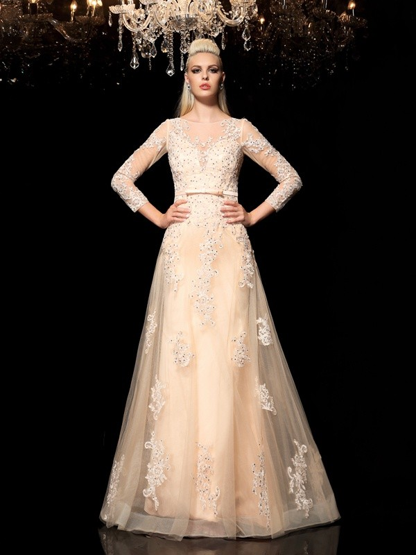 Sweet A-Line Sheer Neck Cut Satin Long Dresses With Applique