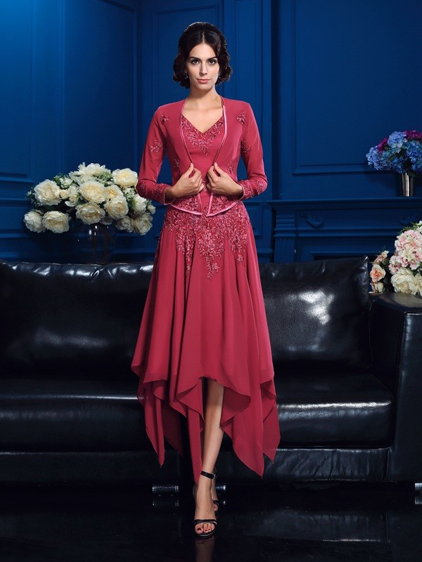 Trendy A-Line V-neck Cut Chiffon High Low Mother of the Bride Dresses With Applique