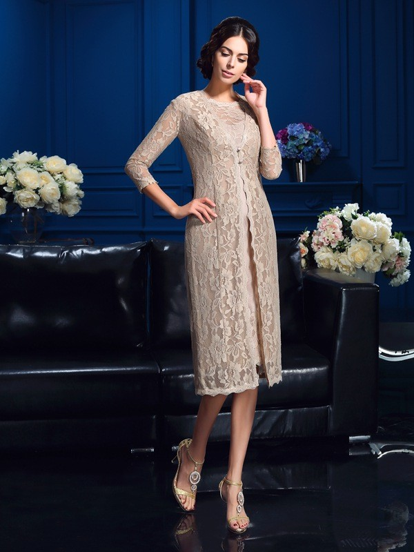 Exquisite Sheath Scoop Cut Taffeta Short Mother of the Bride Dresses With Lace