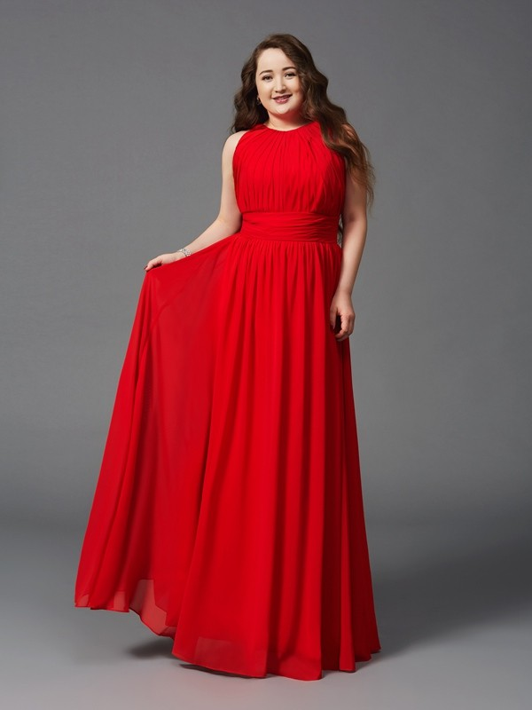 Sweet A-Line Jewel Cut Chiffon Long Plus Size Dresses With Ruched