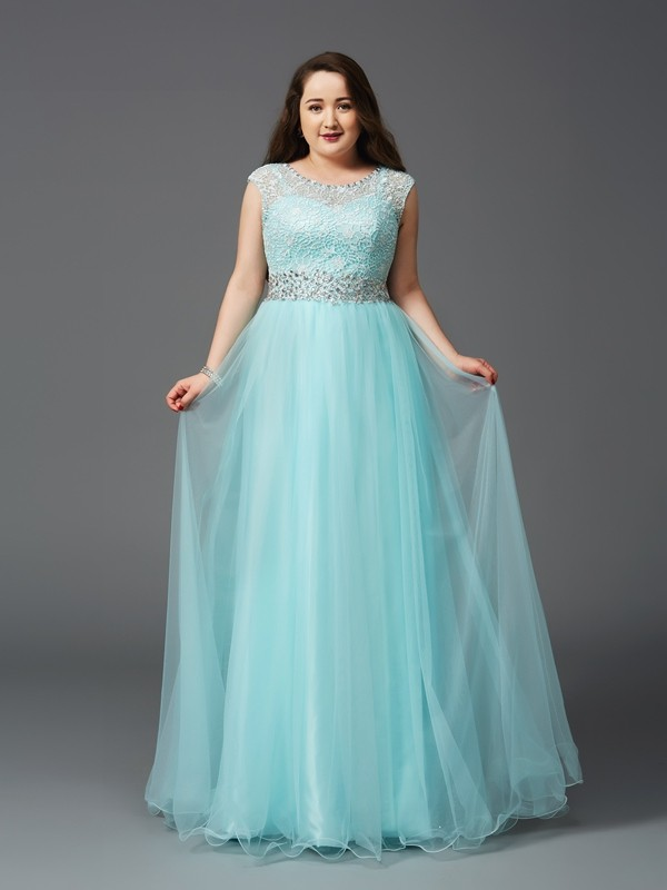 Hot A-Line Scoop Cut Tulle Long Plus Size Dresses With Rhinestone