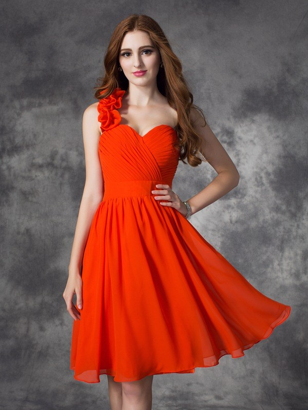 Soft A-Line One-Shoulder Cut Chiffon Short Dresses With Hand-Made Flower