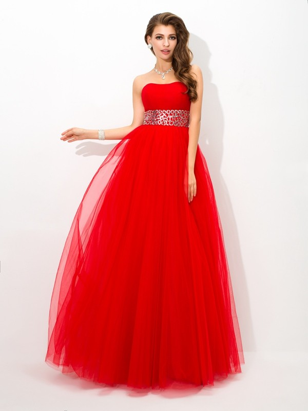 Chic Ball Gown Strapless Cut Net Long Dresses With Beading