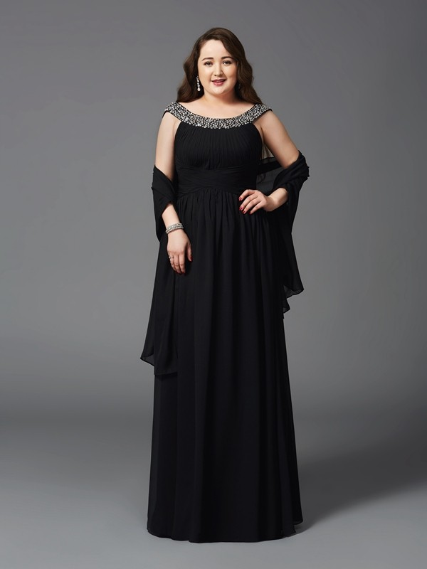 Radiant A-Line Scoop Cut Chiffon Long Plus Size Dresses With Rhinestone