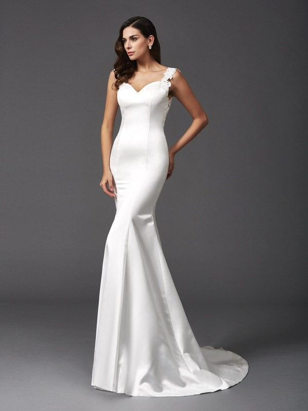 Unique Mermaid Straps Cut Satin Long Wedding Dresses With Beading