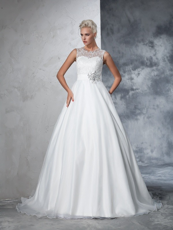 Dreamlike Ball Gown Sheer Neck Cut Net Long Wedding Dresses With Lace