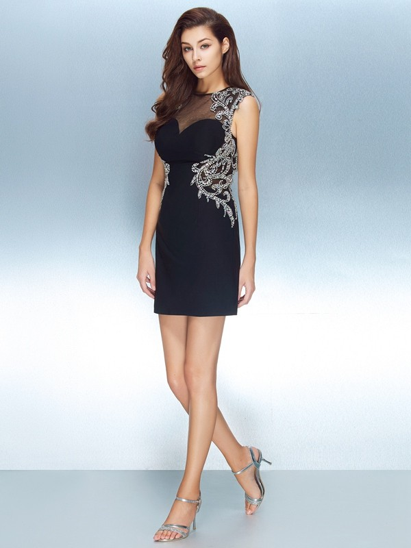 Awesome Sheath Jewel Cut Net Short Dresses With Crystal