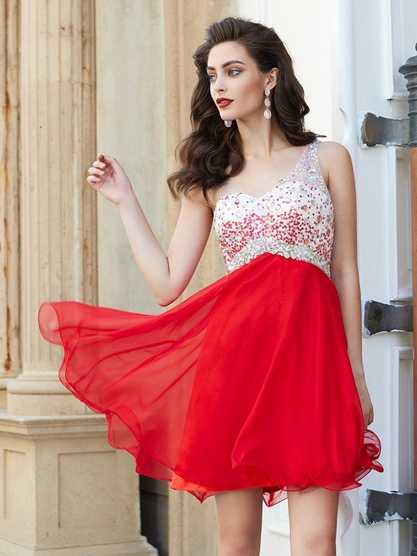 Amazing A-Line One-Shoulder Cut Chiffon Short Dresses With Beading