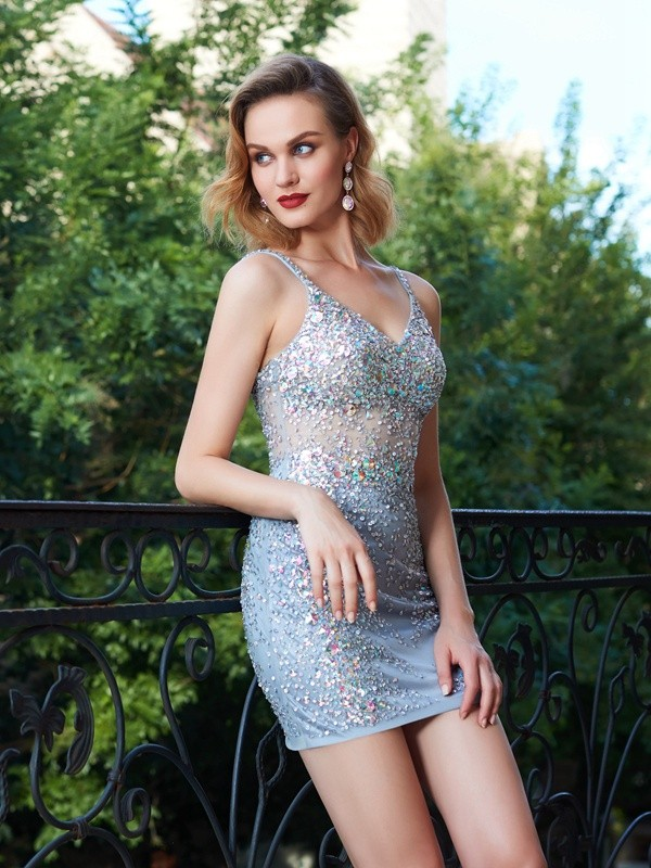 Shining Sheath Spaghetti Straps Cut Net Short Dresses With Sequin