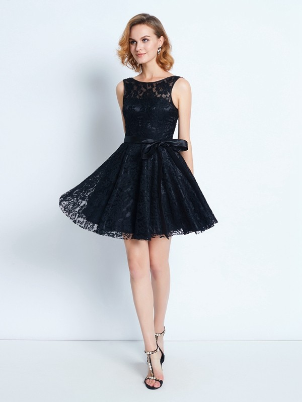 Smart A-Line Scoop Cut Lace Short Dresses With Sash/Ribbon/Belt