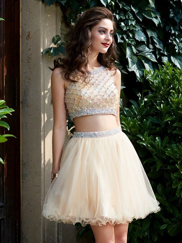 Sweet A-Line Scoop Cut Net Short Two Piece Dresses With Beading
