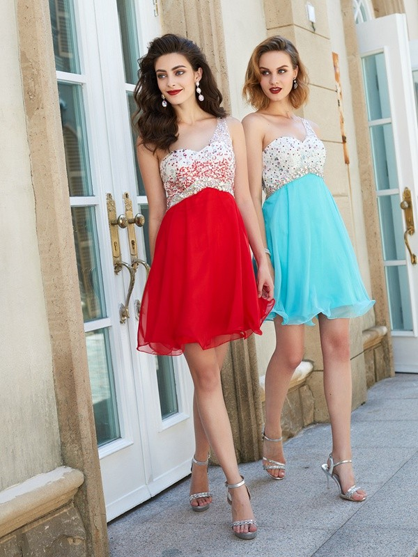 Stunning A-Line One-Shoulder Cut Chiffon Short Dresses With Beading