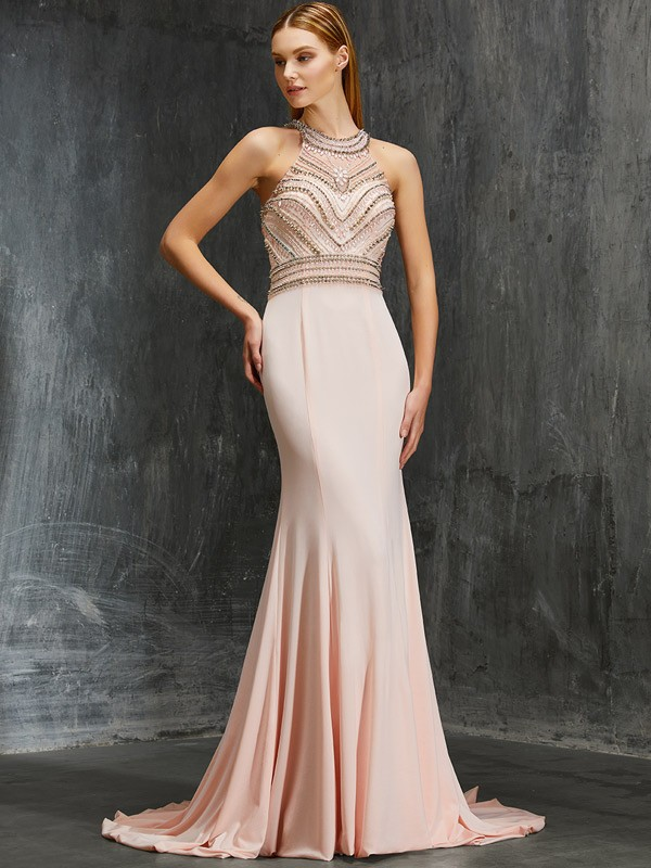 Special Sheath Scoop Cut Spandex Long Dresses With Beading