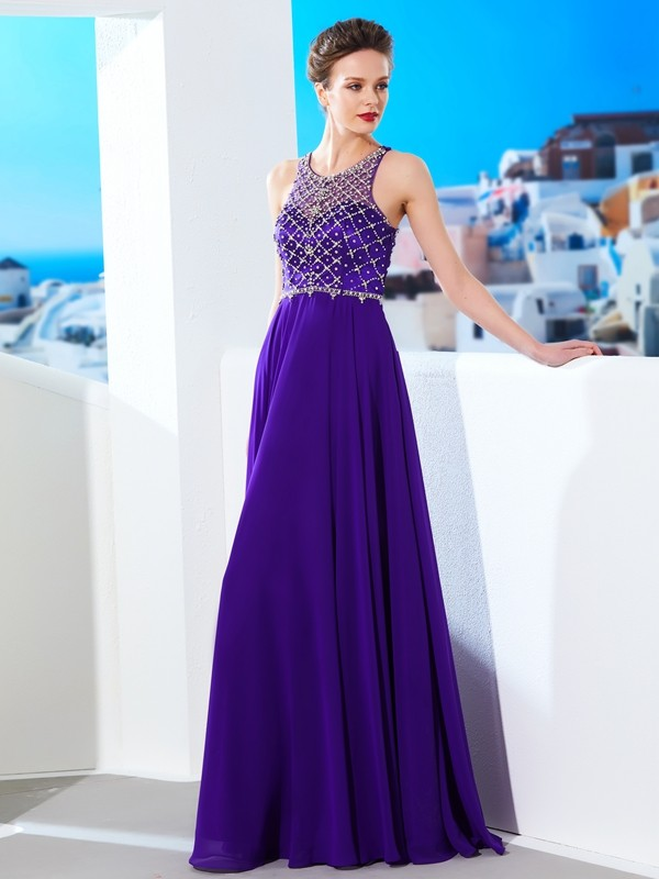 Modern A-Line Scoop Cut Chiffon Long Dresses With Crystal