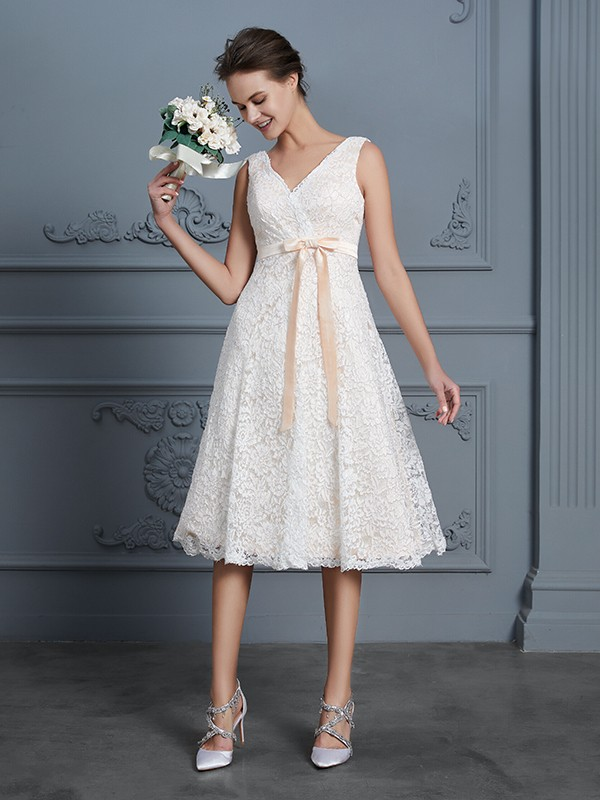 Nice A-Line V-neck Cut Lace Short Wedding Dresses With Bowknot