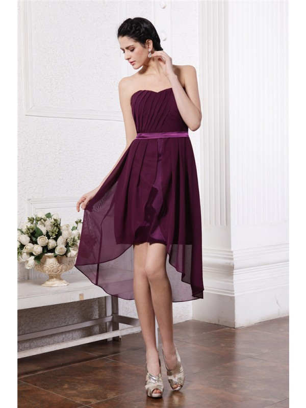 Special Sheath Strapless Cut Chiffon High Low Dresses With Pleats