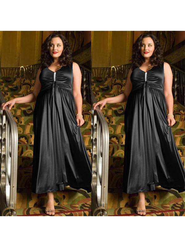 Modern A-Line V-neck Cut Elastic Woven Satin Short Plus Size Dresses With Beading