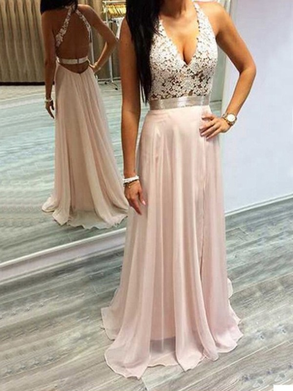 Attractive A-Line Halter Cut Chiffon Long Dresses With Lace