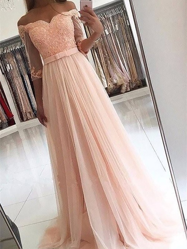 Hot A-Line Off-the-Shoulder Cut Tulle Long Dresses With Sash/Ribbon/Belt