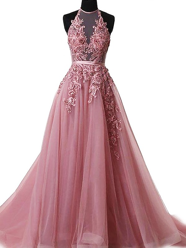 Modern A-Line Halter Cut Tulle Long Dresses With Applique