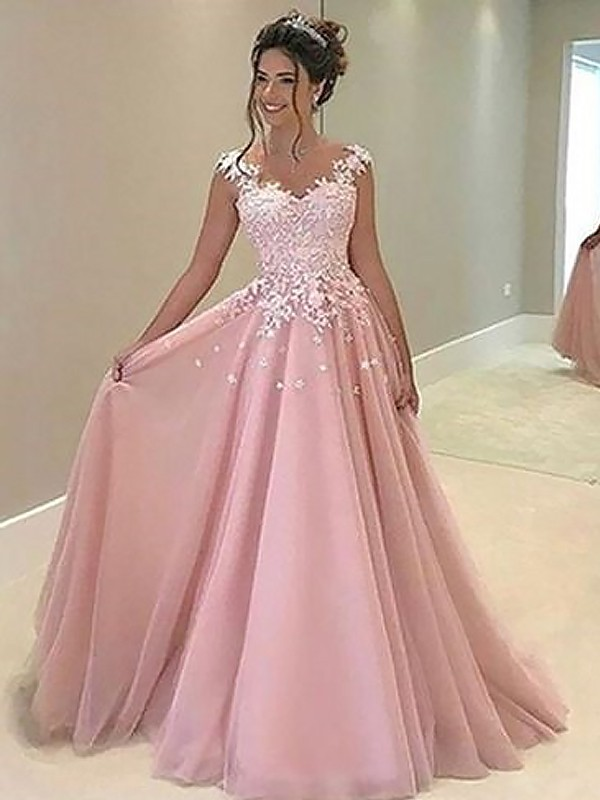 Radiant A-Line Sweetheart Cut Tulle Long Dresses With Applique