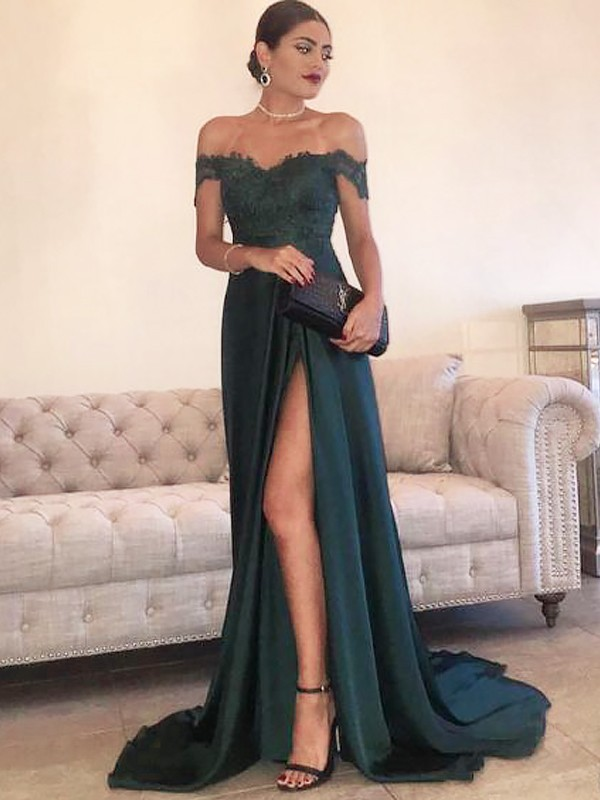 Glamorous A-Line Off-the-Shoulder Cut Satin Long Dresses With Lace