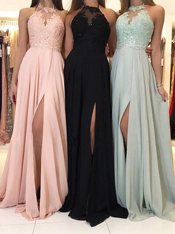 Attractive A-Line Halter Cut Chiffon Long Dresses With Applique