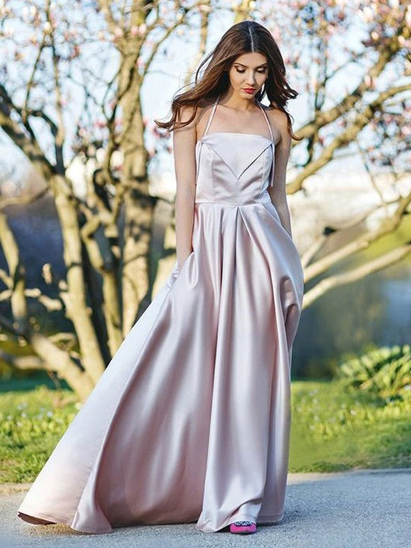 Unique A-Line Halter Cut Satin Long Dresses With Ruffles