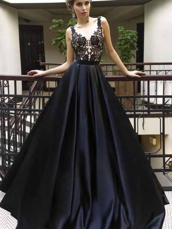 Romantic A-Line Sheer Neck Cut Satin Long Dresses With Applique