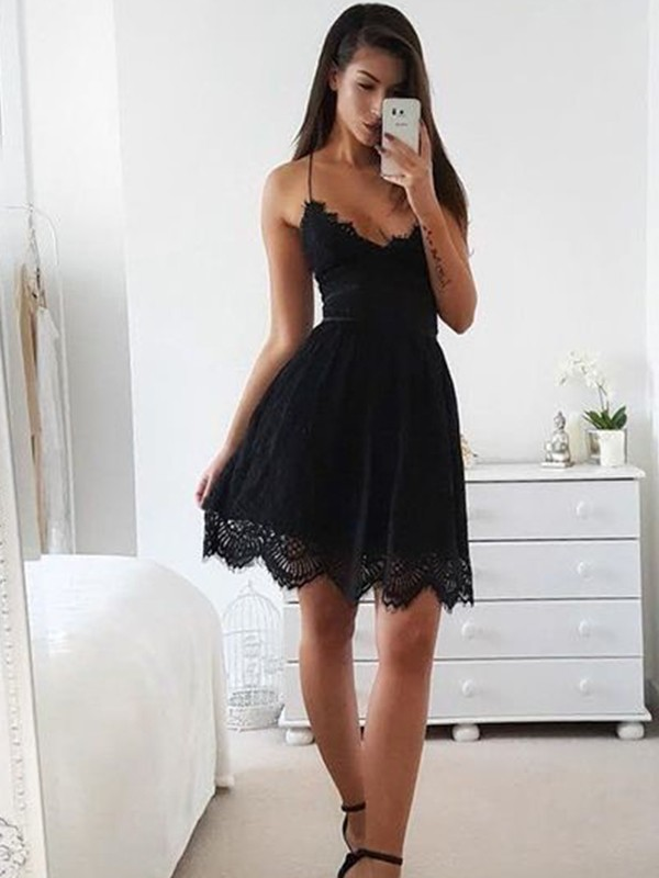 Popular A-Line Spaghetti Straps Cut Lace Short Dresses With Lace