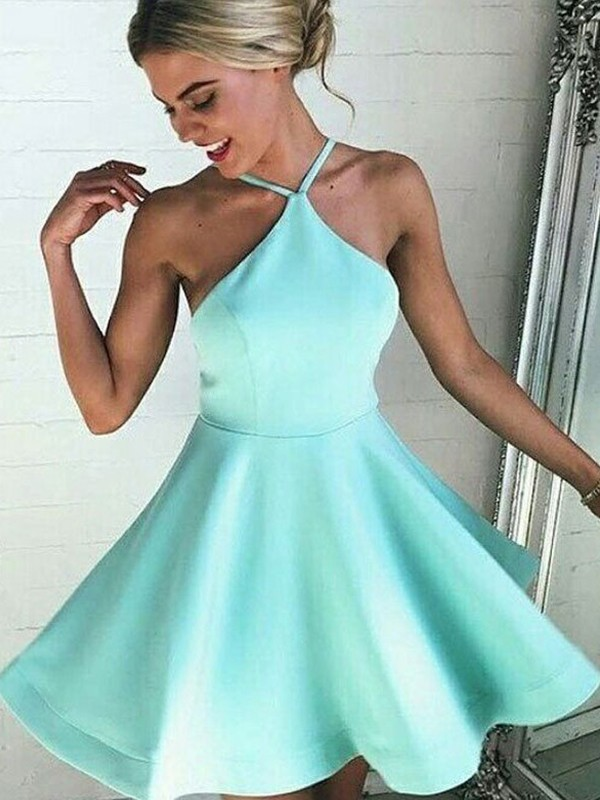 Dreamlike A-Line Halter Cut Satin Short Dresses With Ruched