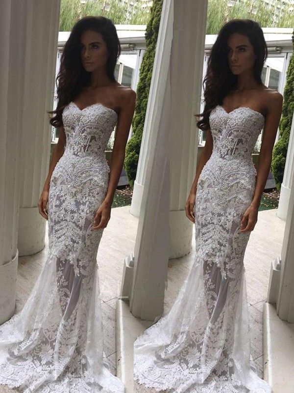 Romantic Mermaid Sweetheart Cut Lace Long Wedding Dresses With Applique