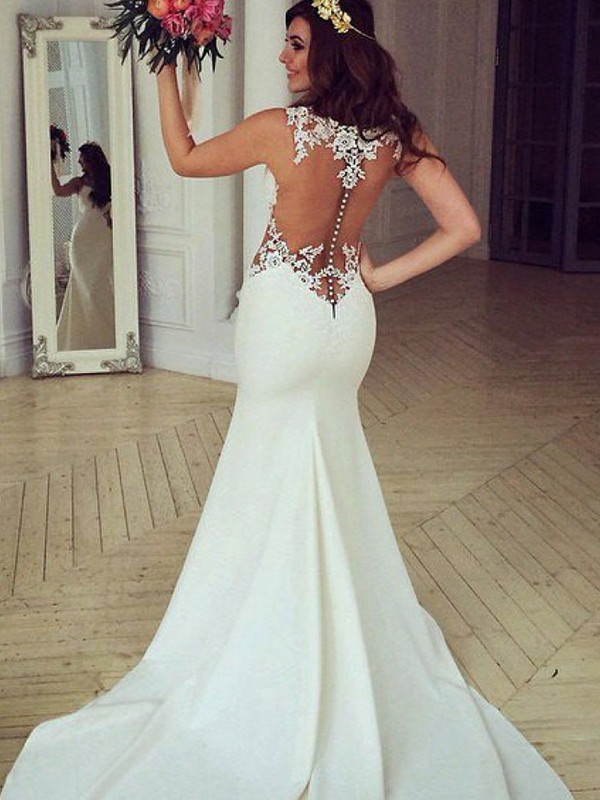 Lovely Mermaid Scoop Cut Lace Long Wedding Dresses With Applique