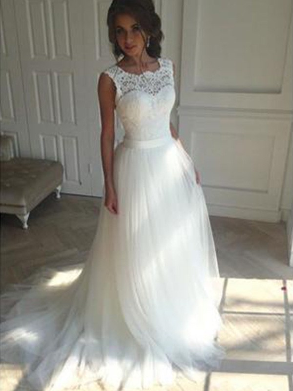 Trendy A-Line Square Cut Tulle Long Wedding Dresses With Beading