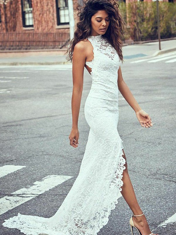 Fashional Mermaid Halter Cut Lace Long Wedding Dresses With Lace
