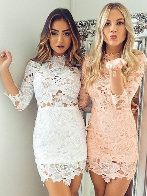 Awesome Sheath Lace With Applique High Neck Cut Short Dresses