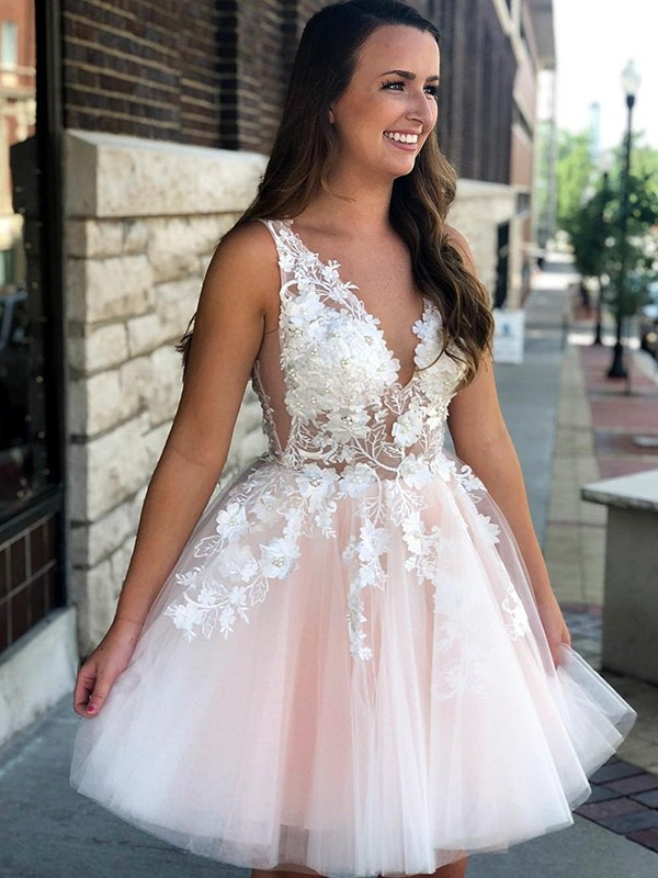 Stylish A-Line Sleeveless V-neck Tulle With Applique Short Dresses