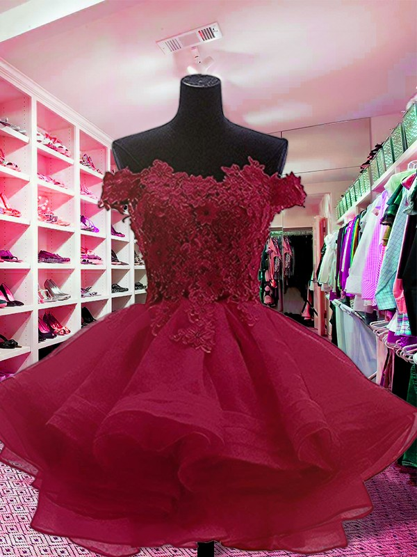 Chic Ball Gown Off-the-Shoulder Cut Short With Applique Organza Dresses