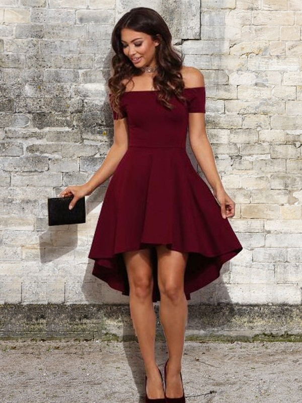 Stylish A-Line Off-the-Shoulder Cut Short With Ruffles Elastic Woven Satin Dresses