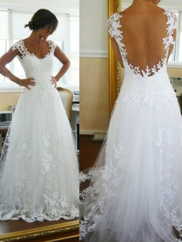 Smart A-Line V-neck Cut Tulle Long Wedding Dresses With Lace