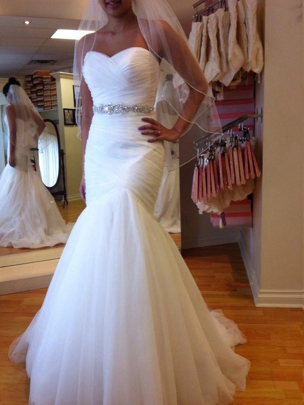 Elegant Mermaid Sweetheart Cut Tulle Long Wedding Dresses With Beading