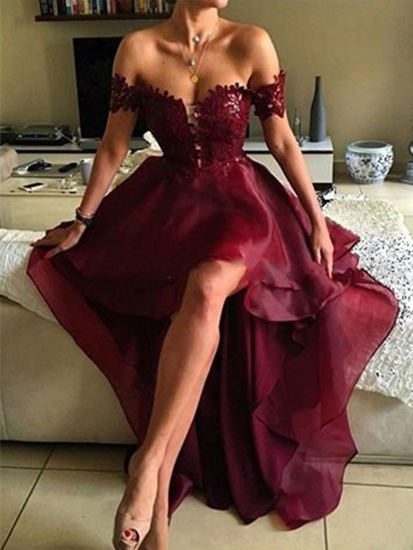 Chic A-Line Off-the-Shoulder Cut Organza High Low Dresses With Applique