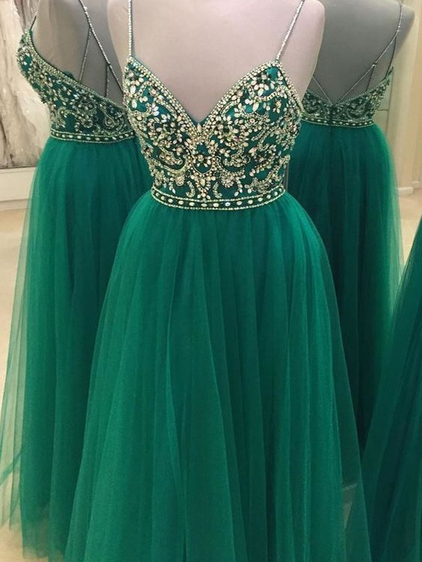 Pretty A-Line Spaghetti Straps Cut Tulle Long Dresses With Beading