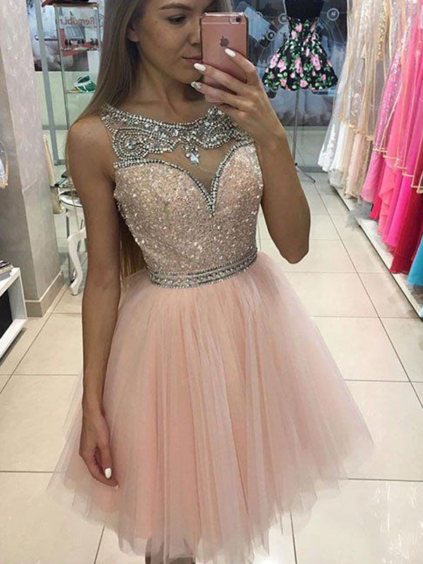 Sweet A-Line Scoop Cut Tulle Short Dresses With Beading